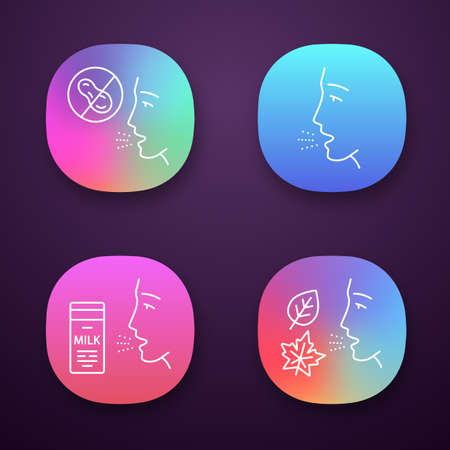 Allergies app icons set. Peanut, milk, dust, mold intolerance. Causes, symptoms of allergic diseases. Medical problem. UIUX user interface. Web or mobile applications. Vector isolated illustrations