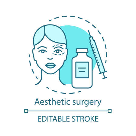 Aesthetic surgery concept icon. Facial and body surgical operation idea thin line illustration. Reconstructive procedure. Appearance. Vector isolated outline drawing. Editable stroke
