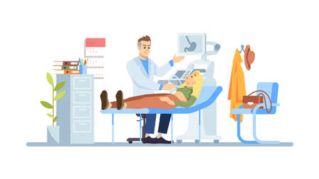 Gastroenterologist examining girl flat vector illustration. Doctor, patient isolated cartoon characters on white background. Abdominal ultrasound. Stomach pain, illness. Medical check, healthcare Иллюстрация