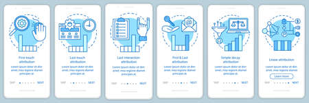 Attribution modeling types blue onboarding mobile app page screen vector template. Diagrams, charts walkthrough website steps with linear illustrations. UX, UI, GUI smartphone interface concept