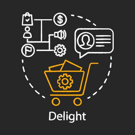 Delight chalk concept icon. Inbound marketing method for customer idea. Marketing automation, conversations. Business strategy, campaign. Vector isolated chalkboard illustration