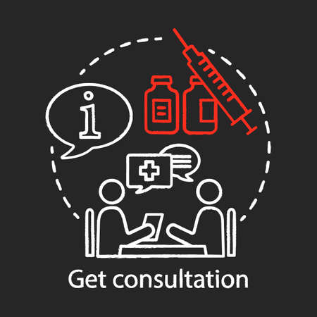 Get consultation chalk icon. Health check. Clinic center. Doctor appointment. Disease prevention. Medical instruments. Plastic surgery center. Isolated vector chalkboard illustration