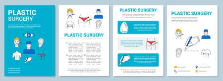 Plastic surgery brochure template layout. Body reconstruction. Flyer, booklet, leaflet print design with linear illustrations. Vector page layouts for magazines, annual reports, advertising posters Ilustração