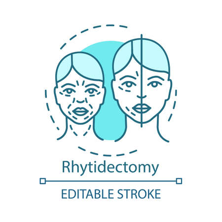 Rhytidectomy concept icon. Facelift idea thin line illustration. Wrinkles surgical removal. Surgical lift procedure. Skin tightening. Vector isolated outline drawing. Editable stroke 일러스트