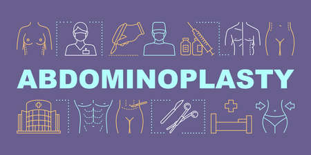 Abdominoplasty word concepts banner. Tummy tuck procedure.  Cosmetic surgery. Presentation, website. Isolated lettering typography idea with linear icons. Vector outline illustration