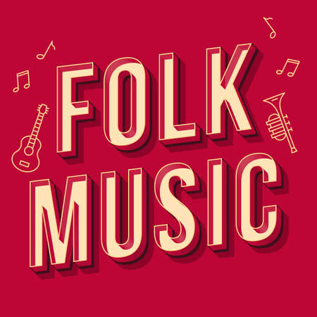 Folk music vintage 3d vector lettering. Retro bold font, typeface. Pop art stylized text. Old school style letters. 90s, 80s poster, banner, t shirt typography design. Burgundy color background