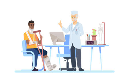 Visiting orthopedist doctor flat vector illustration. Surgeon, patient isolated cartoon characters on white background. Broken leg, arm, fracture. Crutch, plaster, bandage. Recovering after accident Stock Illustratie