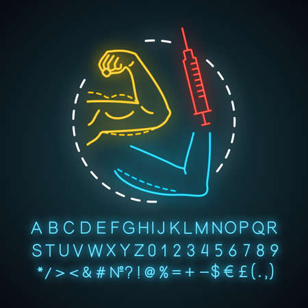 Hand procedures neon light icon. Body contouring surgery. Lifting. Plastic surgery subspecialty. Glowing sign with alphabet, numbers and symbols. Vector isolated illustration