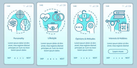 Psychographics targeting turquoise gradient onboarding mobile app page screen vector template. Walkthrough website steps with linear illustrations. UX, UI, GUI smartphone interface concept Иллюстрация