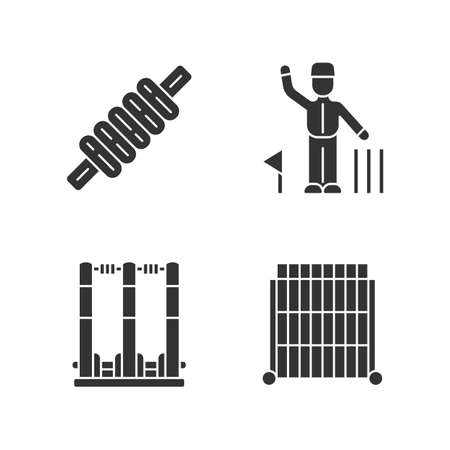 Cricket championship glyph icons set. Sport competition. Bail, stumps, sight screen, umpire. Sporting gear, judge. Club tournament. Team battle. Silhouette symbols. Vector isolated illustration
