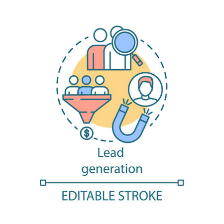 Lead generation concept icon. Digital marketing benefit idea thin line illustration. Advertising. List building. Attracting customers process. Vector isolated outline drawing. Editable stroke