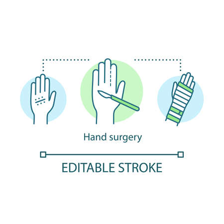 Hand surgery concept icon. Orthopaedic surgery idea thin line illustration. Wrist, forearm problem. Joint replacement.  Tendon and  nerve repair Vector isolated outline drawing. Editable stroke