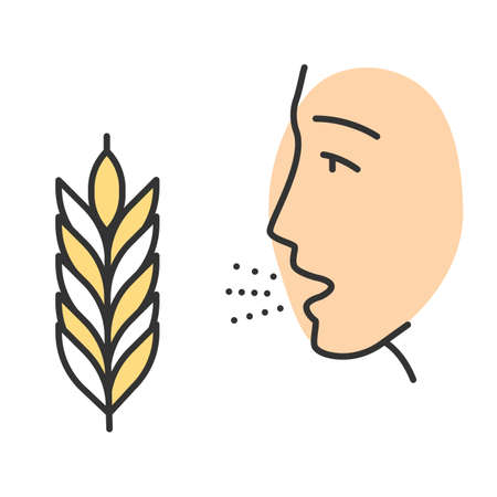 Wheat allergy color icon. Allergic asthma, rhinitis. Gluten intolerance. Hypersensitivity of immune system. Inhalation of allergens. Seasonal allergy. Isolated vector illustration Illusztráció