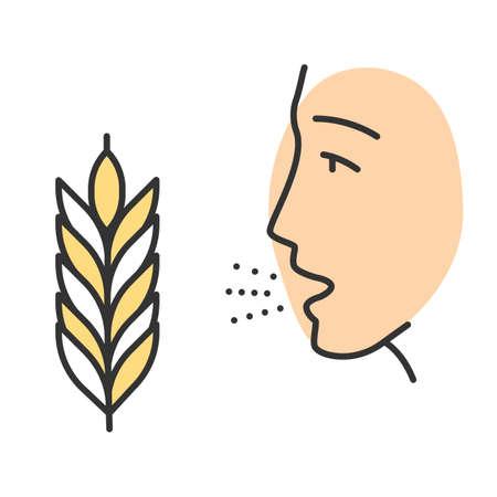 Wheat allergy color icon. Allergic asthma, rhinitis. Gluten intolerance. Hypersensitivity of immune system. Inhalation of allergens. Seasonal allergy. Isolated vector illustration