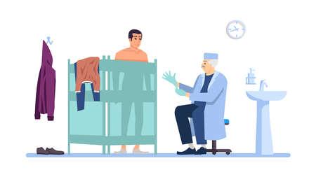Klinik flachbild Vektor-Illustration zu besuchen. Männlicher Patient, Arzt isolierte Zeichentrickfiguren auf weißem Hintergrund. Medizinische Untersuchung, Untersuchung. Chirurg Arzt, Kabinett für Proktologen. Gesundheitswesen, Behandlung