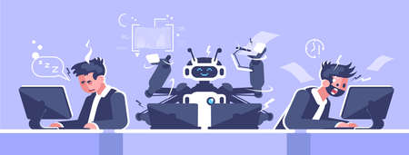 AI office worker flat vector illustration. Robotic employee vs stressed human managers concept. Robot working with laptops cartoon character. Artificial intelligence in workplace. Robotics revolution