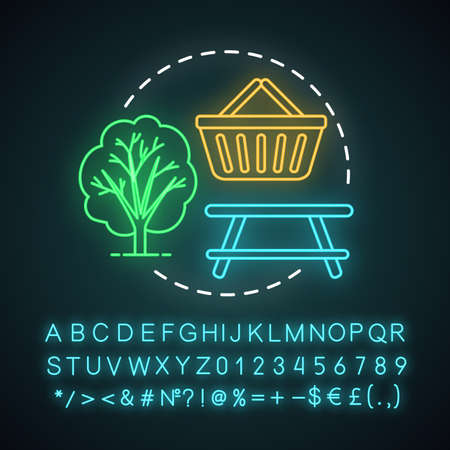 Picnic neon light concept icon. Family activities with kids idea. Meal outdoors. Lunch in nature with brilliant food. Glowing sign with alphabet, numbers and symbols. Vector isolated illustration