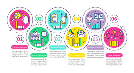 Attribution modeling types vector infographic template. Business presentation design elements. Data visualization with six steps and options. Process timeline chart. Workflow layout with linear icons