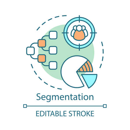 Segmentation concept icon. Marketing element, pie chart idea thin line illustration. Segment targeting, customer diagram, targeting vector isolated outline drawing. Editable stroke