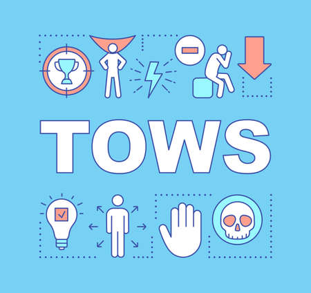 TOWS blue word concepts banner. Strength, weakness, opportunity, threat. Presentation, website. Marketing tools. Isolated lettering typography idea with linear icons. Vector outline illustration