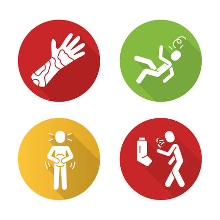 Allergy symptoms flat design long shadow glyph icons set. Contact dermatitis, skin rash, inflammation. Allergic asthma. Viral infection. Seasonal disease. Vector silhouette illustration