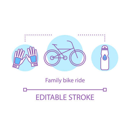 Family bike ride concept icon. Activities with kids idea thin line illustration. Cycling. Local park visiting. Time together. Active leisure. Vector isolated outline drawing. Editable stroke