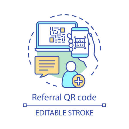 Referral QR code concept icon. User authorization, registration idea thin line illustration. Referral friend, new customer invitation. Create account. Vector isolated outline drawing. Editable stroke Illustration