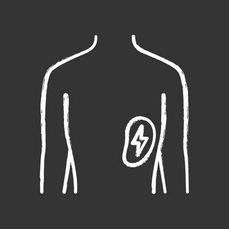 Ill spleen chalk icon. Sore human organ. People disease. Unhealthy lymphatic system. Sick internal body part. Immune system. Isolated vector chalkboard illustration