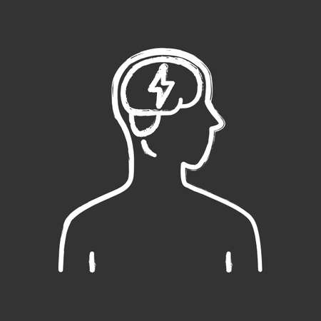 Ill brain chalk icon. Sore human organ. People disease. Unhealthy nervous system. Sick internal body part. Mental health. Isolated vector chalkboard illustrationя