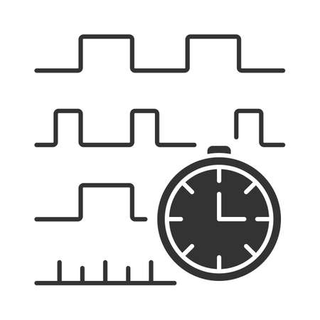 Timing diagram glyph icon. Signals set in time domain. Process chart. Timing relationships description. Digital communications. Silhouette symbol. Negative space. Vector isolated illustration