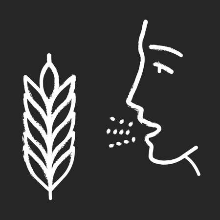 Wheat allergy chalk icon. Allergic asthma, rhinitis. Gluten intolerance. Hypersensitivity of immune system. Inhalation of allergens. Seasonal allergy. Isolated vector chalkboard illustration Illusztráció