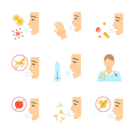 Allergies flat design long shadow color icons set. Contact, food, respiratory diseases. Diagnosis and medication. Hypersensitivity of immune system. Medical problem. Vector silhouette illustrations Illustration