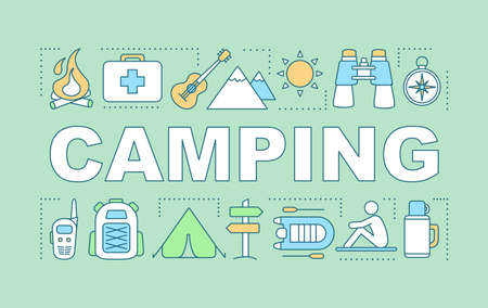 Camping word concepts banner. Family time together. Hiking. Overnight staying in tent. Presentation, website. Isolated lettering typography idea, linear icons. Vector outline illustration