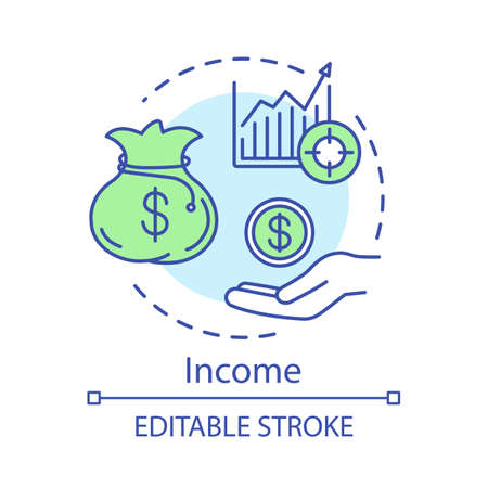 Income concept icon. Money flow, business investment idea thin line illustration. Money saving vector isolated outline drawing. Business and management, future income growth.  Editable stroke Ilustrace