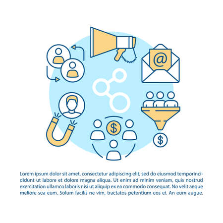 Referral marketing program article page vector template. Customer attraction. Brochure, magazine, booklet design element with linear icons and text boxes. Print design. Concept illustrations with text Vektorové ilustrace