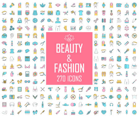 Beauty and fashion industry color icons big set. Cosmetics for makeup, plastic surgery, spa and manicure salon, clothes and accessories. Skincare, body care products. Isolated vector illustrations 일러스트