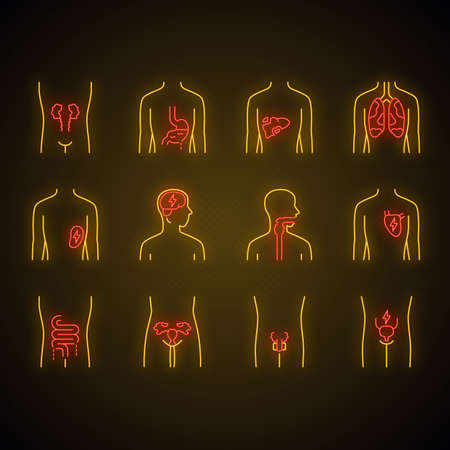 Ill human organs neon light icons set. Sore heart and lungs. Aching throat and urinary bladder. Unhealthy liver and intestines. Sick internal body parts. Glowing signs. Vector isolated illustrations