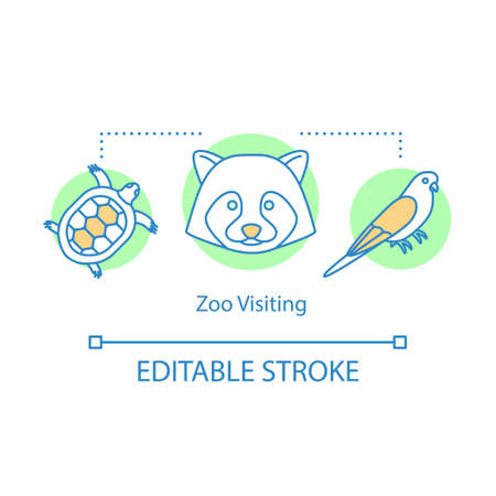 Zoo visiting concept icon. Family time together idea thin line illustration. Kids learn about animals. Animal park. Safari tour. Vector isolated outline drawing. Editable stroke Ilustração