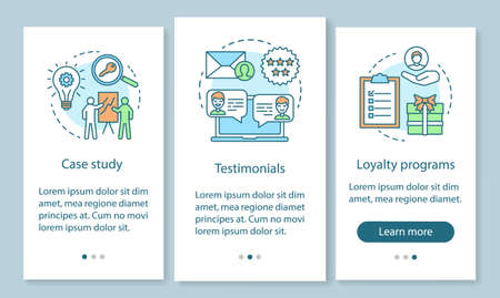 Decision making content onboarding mobile app page screen with linear concepts. Customer attraction strategy walkthrough steps graphic instructions. UX, UI, GUI vector template with illustrations