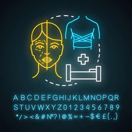 Burn surgery neon light icon. Burn and wound treatment. Reconstructive cosmetic plastic surgery. Glowing sign with alphabet, numbers and symbols. Vector isolated illustration