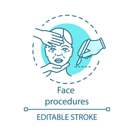 Face procedures concept icon. Plastic surgery idea thin line illustration. Invasive facial treatment. Aging skin. Face contouring. Vector isolated outline drawing. Editable stroke