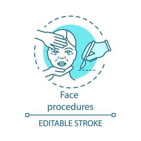 Ikona koncepcja procedur twarzy. Chirurgia plastyczna pomysł cienka linia ilustracja. Inwazyjny zabieg na twarz. Starzejąca się skóra. Konturowanie twarzy. Wektor na białym tle szkicu. Edytowalny skok