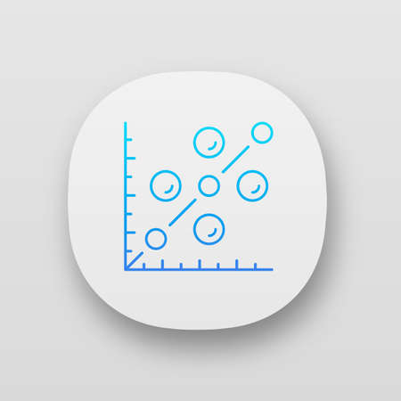 Scatter plot app icon. Scattergram. Mathematical diagram. Chart on coordinate plane. Statistics data visualization. UI/UX user interface. Web or mobile applications. Vector isolated illustrations Illustration