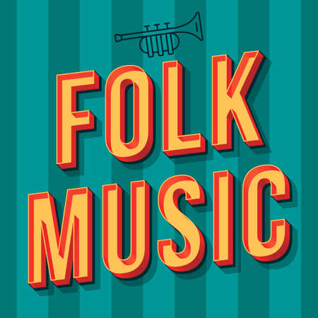 Folk music vintage 3d vector lettering. Retro party bold font, typeface. Pop art stylized text. Old school style letters. 90s, 80s poster, banner. Turquoise striped color background