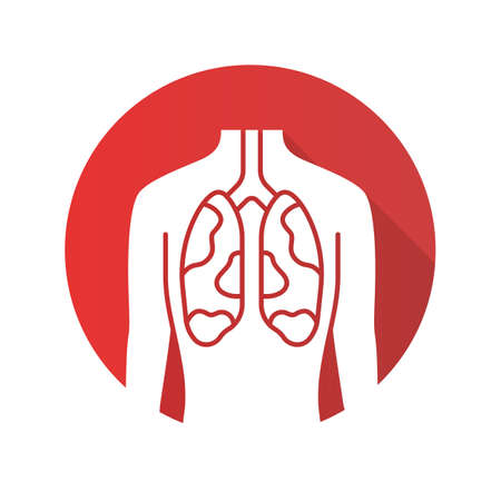 Ill lungs flat design long shadow glyph icon. Sore human organ. Tuberculosis, cancer. Unhealthy pulmonary system. Sick internal body part. Respiratory health. Vector silhouette illustration