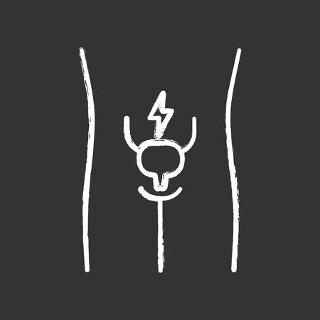 Ill urinary bladder chalk icon. Sore human organ. Cystitis. People disease. Unhealthy urinary system. Sick internal body part. Aching urinary tract. Isolated vector chalkboard illustration Ilustração