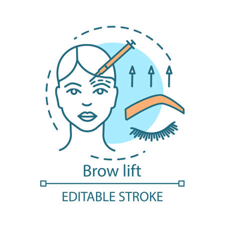Brow lift concept icon. Cosmetic procedures idea thin line illustration. Forehead lift. Rejuvenation. Forehead and brow skin raising. Vector isolated outline drawing. Editable stroke 일러스트