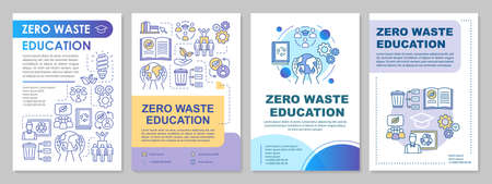 Zero waste education brochure template layout. Ecological school flyer, booklet, leaflet print design with linear illustrations. Vector page layouts for magazines, annual reports, advertising posters