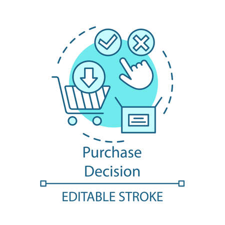Purchase decision turquoise concept icon. Online shopping idea thin line illustration. Decision making, buying on internet vector isolated outline drawing. Digital purchase. Editable stroke