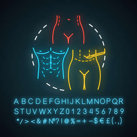 Abdominoplasty neon light icon. Aesthetic cosmetic surgery. Tummy tuck operation. Lower body lift. Glowing sign with alphabet, numbers and symbols. Vector isolated illustration Ilustração